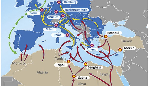 EuroPol Publishes Map of Smuggling Routes to Europe