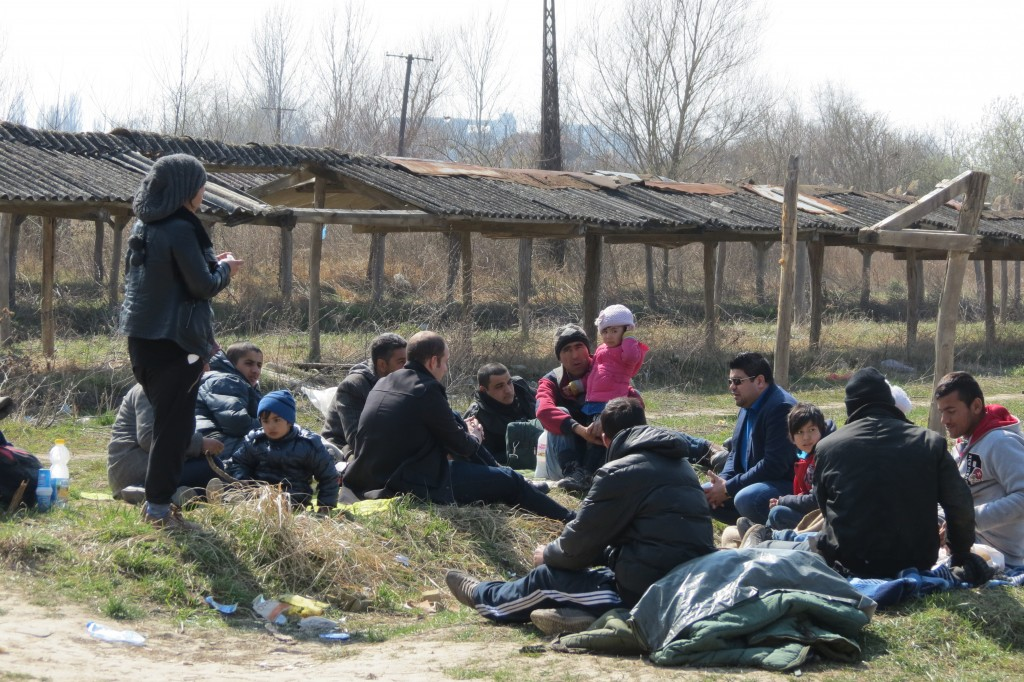 Photo was taken during the March 2015 mission to Serbia. Migrants and refugees are gathered outside the Brick Factory awaiting to be transferred to Hungary.