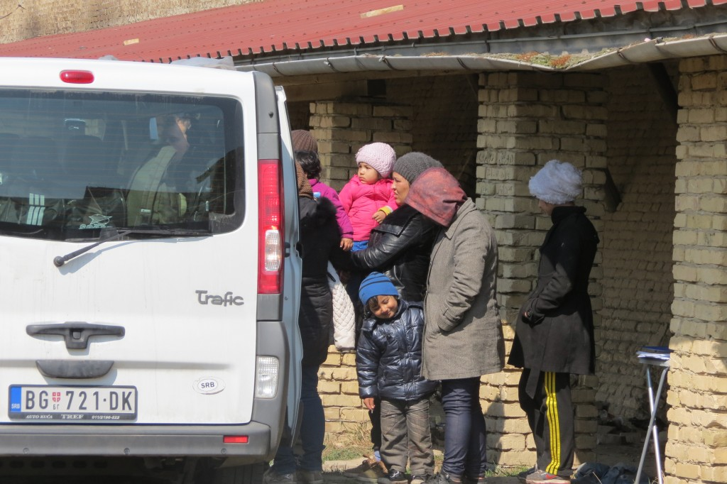 MSF providing medical assistance to refugees in Subotice. Photo was taken during the March 2015 mission to Serbia. It was taken outside the Brick factory in Subotica. Photo: Amnesty International