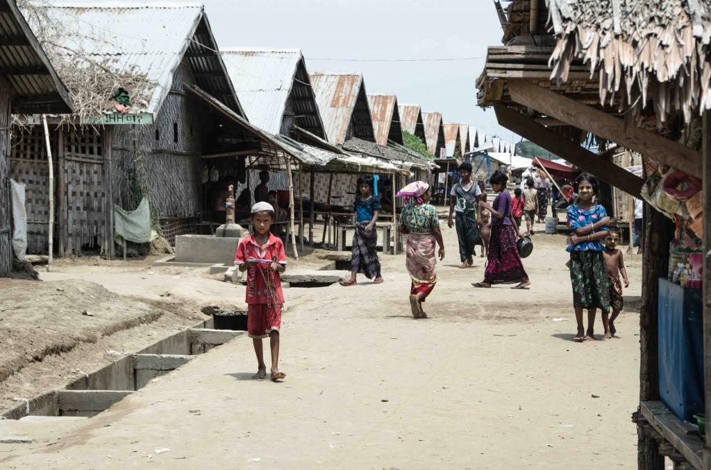 Street scene in Ohn Daw Gyi IDP camp, near Sittwe, Myanmar, May 26 2015 (Alex Bookbinder)