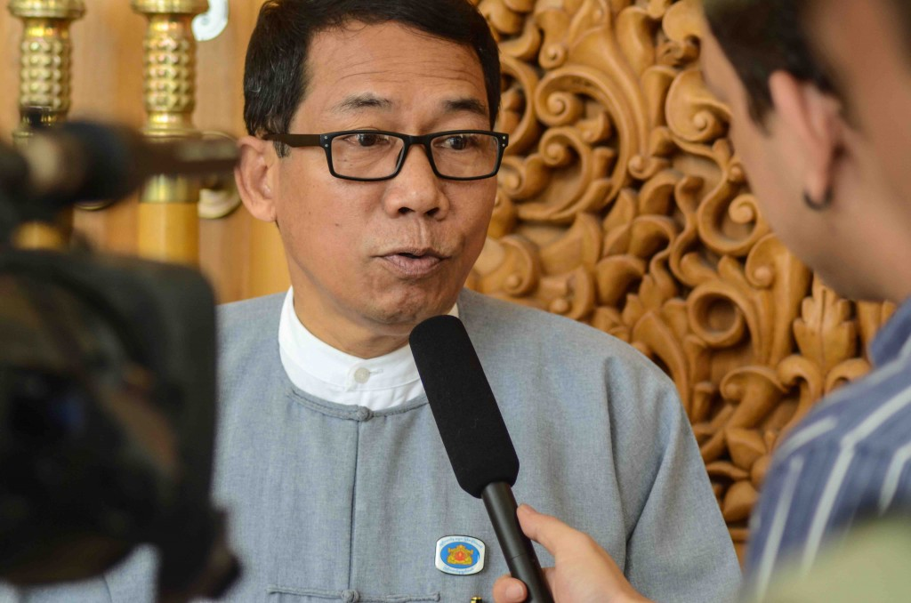 ANP leader Dr. Aye Maung at Myanmar's parliament in August 2015. Although his party did well in the November 2015 polls, he was not re-elected to his seat in Myanmar's union parliament, but remains the head of the party (Aung Naing Soe)