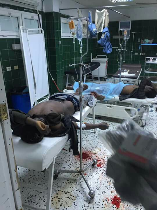 Migrants being treated at the Zawiya Hospital after they were fired upon by guards at the town's detention centre following a mass escape.