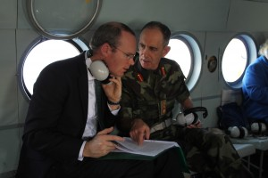 Irish Defence Minister Simon Coveney being briefed. Stock Photo: Irish Defence Forces.