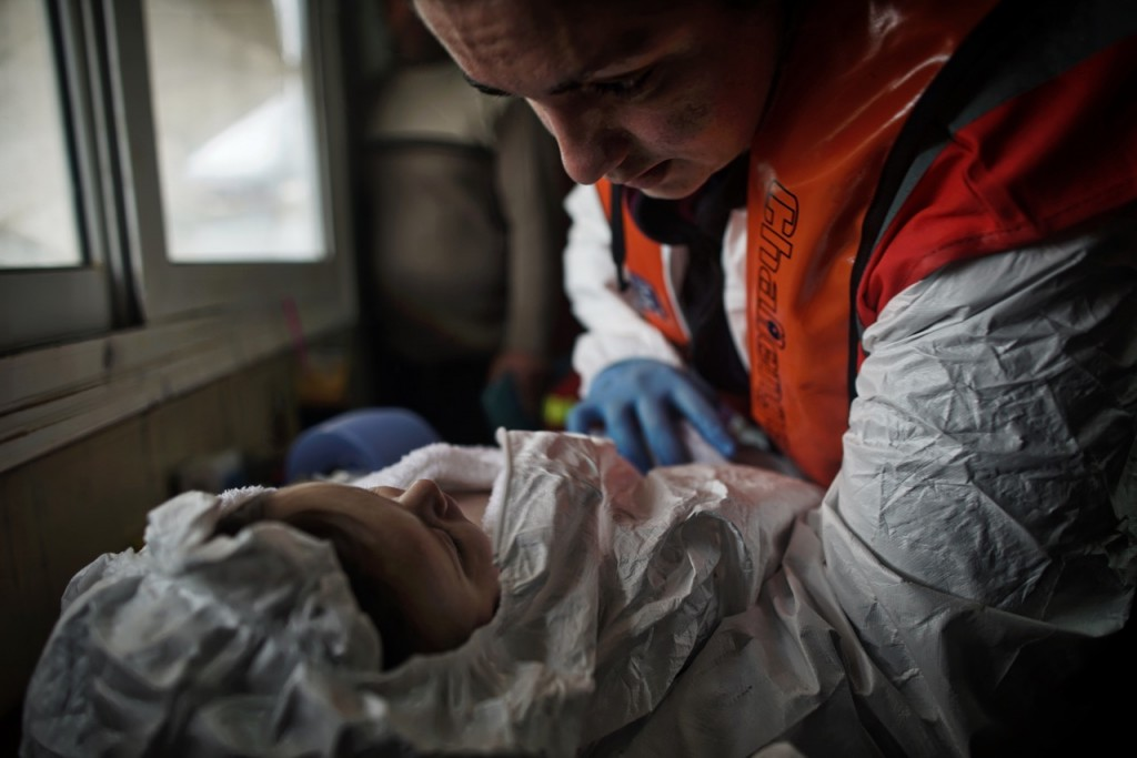 Photo: One of the infant survivors from the rescue off Aghatonisi. Photo: MOAS/Robert Young Pelton