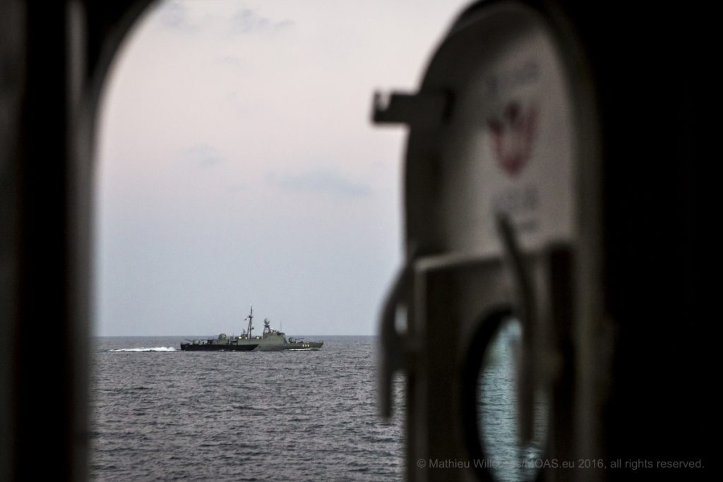 A Thai Navy vessel approaches the MY Phoenix off the coast of Ranong, Thailand. Photo: Mathieu Willcocks/MOAS.eu