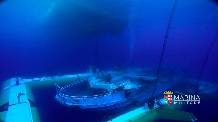 A photo of the 20-metre wreck that was recovered by the Italian Navy at the end of June following a year-long operation. Photo: Italian Navy.