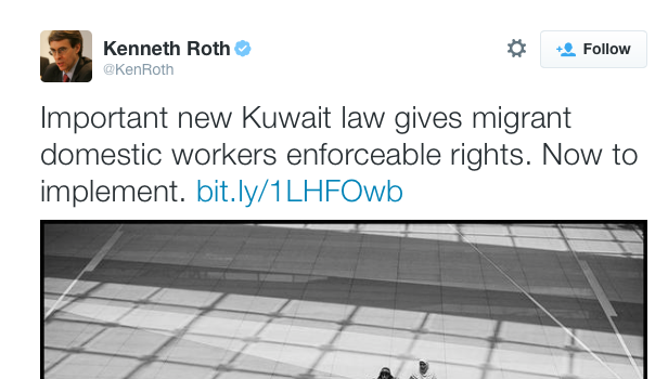 New Law Breakthrough for Kuwait's Domestic Workers