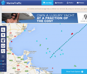 Screenshot from MarineTraffic.com showing intense activity off Zuwara Libya between 8pm and 9pm on Monday.