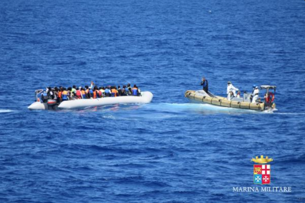 A rescue operation on Saturday coordinated by the Italian navy. Photo: Italian Navy