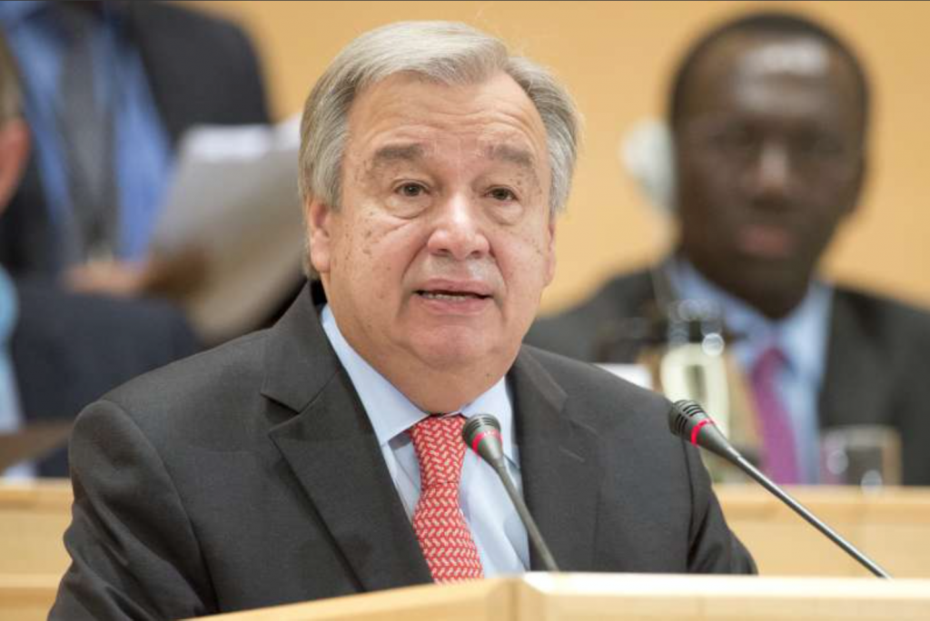 UN High Commissioner for Refugees António Guterres, makes his opening speech at UNHCR's 66th session of the Executive Committee on October 5.