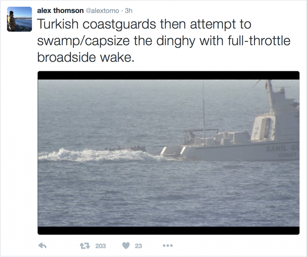 A Tweet by Chanel 4 Correspondent Alex Thomson, who witnessed the incident, showing the Turkish Coastguard making wake dangerously close to the migrants' dinghy.