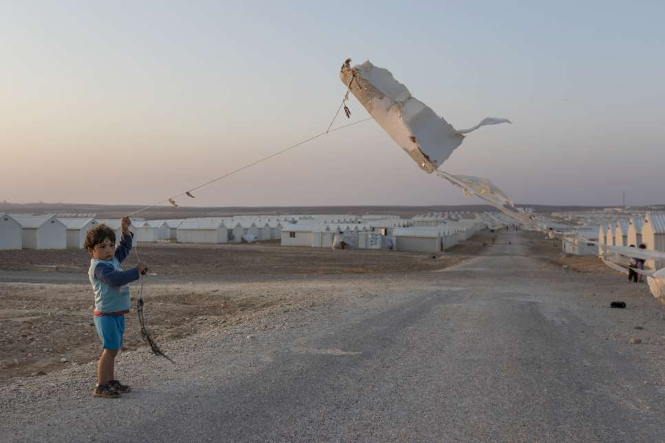 Syrian boy Kite flying