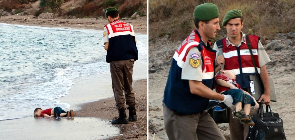 The pictures of the boy, found on a beach in Bodrum were published by the Turkish Dogan Haber news agency (DHA).